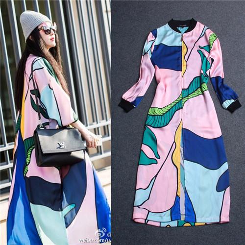 Vestidos manga larga, fan bingbing patrón de impresión mujeres del diseñador de estilo de diseño de lujo guardapolvo(China (Mainland))