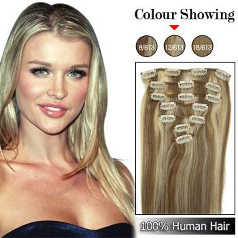 1518 20 Remy Clips in human hair #12/613 mix color 70gram containing 7pieces/pack<br><br>Aliexpress