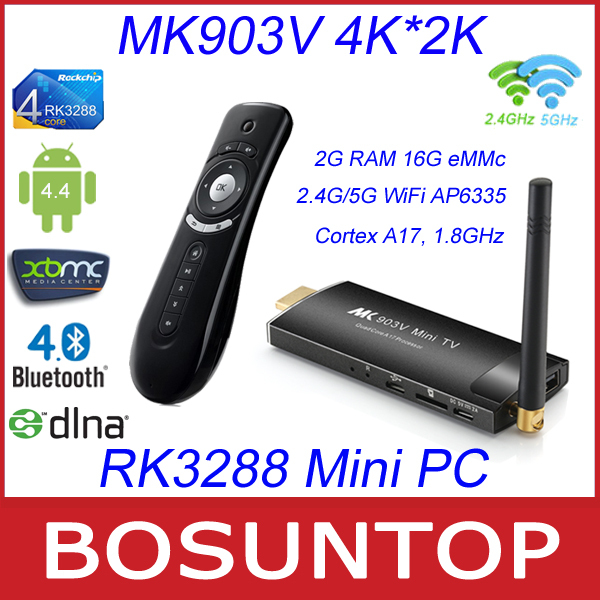 MK903V RK3288 Cortex A17 4K H.265 Android4.4 2G/16G 2.4G/5G AC WiFi AP6335 Bluetooth TV Stick Dongle Mini PC + T2 Fly Air Mouse(China (Mainland))
