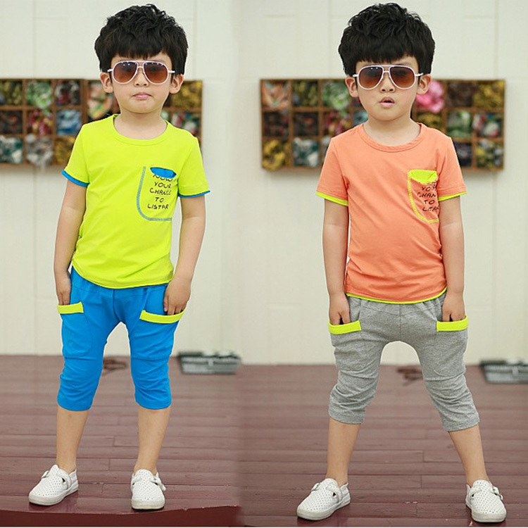 Cocuk taklmlarl contrast color children short set suit Summer sport boys Sets Kids clothes girls sam t shirt + pant suits HB110 - C&M Team Store store