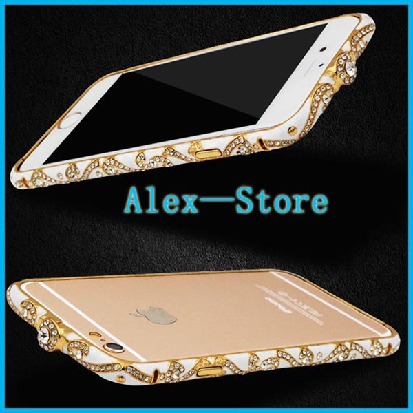 Bling China Ceramic Rhinestone Bling Case For iphone 6 Diamond Aluminum Metal Bumper Frame Case for iPhone 6 Bumper(China (Mainland))