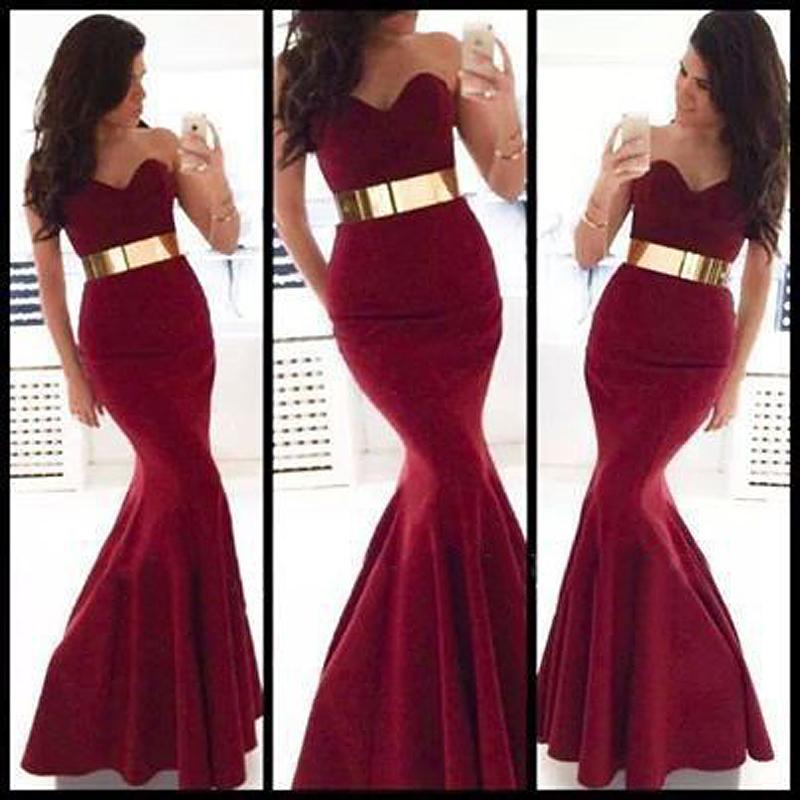 Online Get Cheap Burgundy and Gold Formal Evening Dress ...