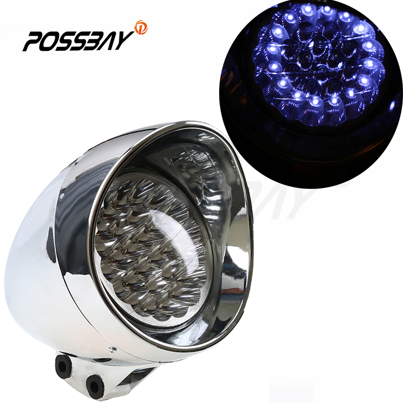 New Hot Chrome Universal Motorcycle Blue Headlight LED Light For Harley Cafe Racer Bobber Chopper Cruiser Clubman Accessories(China (Mainland))