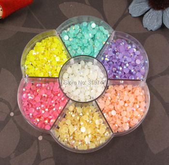 Free shipping! Half Pearl BeadS Flat Back 2100PCS 4mm Scrapbook for Craft FlatBack Colors 007008