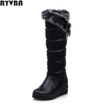 Buy RYVBA woman knee high snow boots fashion thick plush warm thigh high boots winter boots women shoes womens female sexy flats for $34.84 in AliExpress store