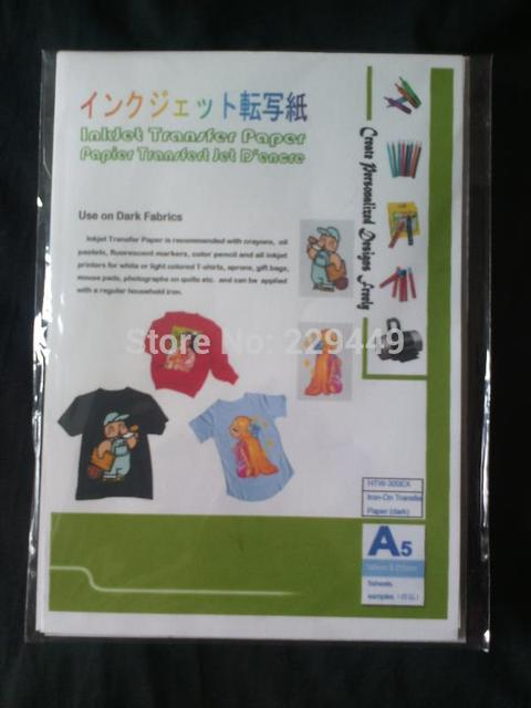 Iron On Transfers Paper!A5*5pcs Inkjet Heat Transfer Paper Dark Color With Heat Press For T shirt Iron-on Paper Transfers