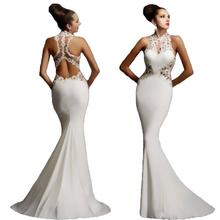 Disponibile bianco chiffon a-line prom dresses halter 2015 appliques del merletto lungo abito da sera mermaid abito vestido de festa(China (Mainland))