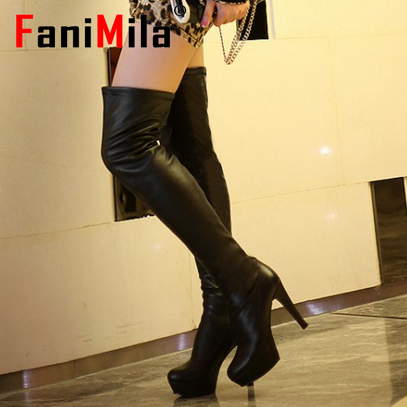 women real genuine leather high heel over knee boots sexy platform long boot winter warm botas footwear shoes R7481 size 33-39