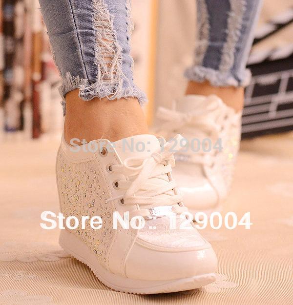 Black White Free Shipping Hidden Wedge Heels Fashion Casual Women's Elevator Shoes Sneakers Sports Shoes For Women Rhinestone(China (Mainland))