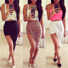 Sexy Fashion 2014 New Solid High Low Wrapped Elastic Waist Asymmetrical Skirt Draped Cut Out Skirt
