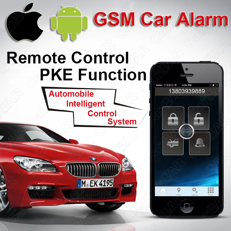 IOS Android GPS GSM Car Alarm Push Button Start with PKE Keyless Entry System One Start Stop Button SMS Alarm CARBAR(China (Mainland))