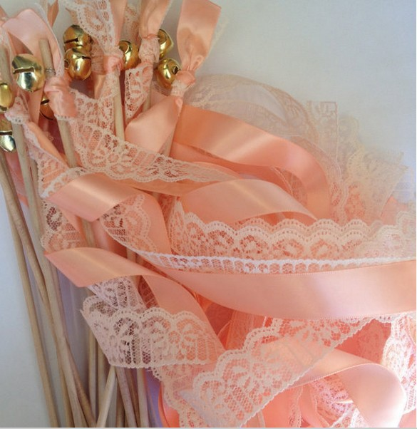 10pcs/lot  Wedding Ribbon Wands lovely coral TWIRLING STREAMER Wedding Favors holiday deocration