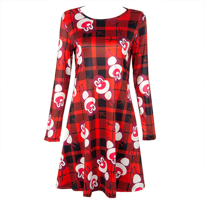 Women Summer Dress Female Knee-Length Casual Red Fashion Clothing Slim Full Sleeve Sexy Empire O-Neck Print Lady Cartoon Dresses(China (Mainland))