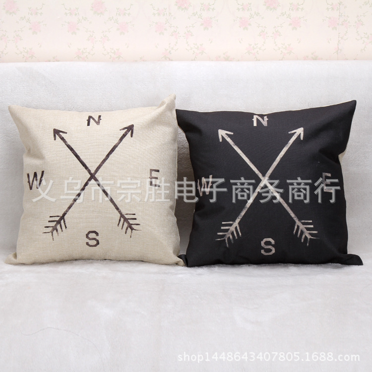 Factory direct foreign trade explosion of minimalist style series of linen pillow on the direction of the compass Home Furnishin(China (Mainland))
