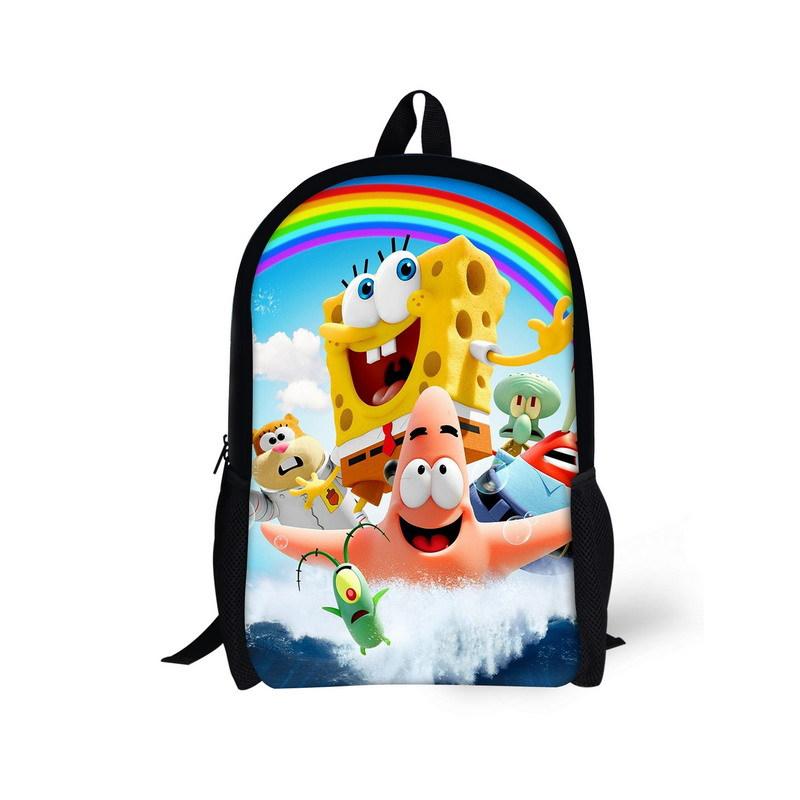 Cute 3D Cartoon SpongeBob SquarePants Backpack Fashion Children School Bags SpongeBob Patrick Star Printed Bagspack For Boys(China (Mainland))