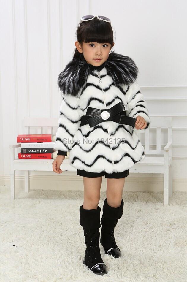 Скидки на Новый осень зима дети девушка Роскошный теплый искусственного Лиса пальто енота кролика искусственного меха пальто куртка одежда верхняя одежда пальто