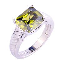 Nova envio gratuito de originais bonito oliveiras verde Peridot 925 anel de prata tamanho 9 bijuterias presente para as mulheres atacado