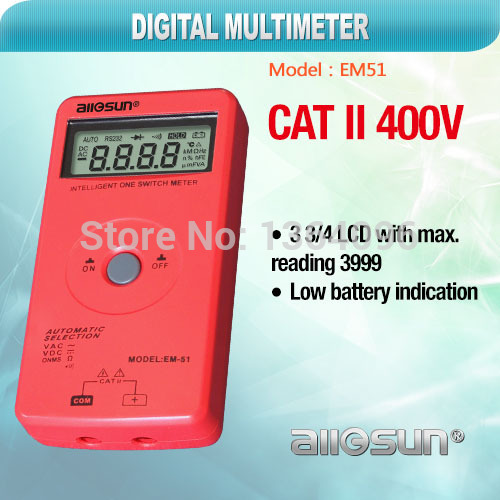 all-sun EM51 One switch intelligent digital multimeter 3 3/4digits LCD DC/AC voltage tester resistance continunity multimeter(China (Mainland))