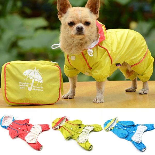 Pet Dog Hoodie Jacket Raincoat Waterproof Rain Coat Slicker Jumpsuit Clothes(China (Mainland))