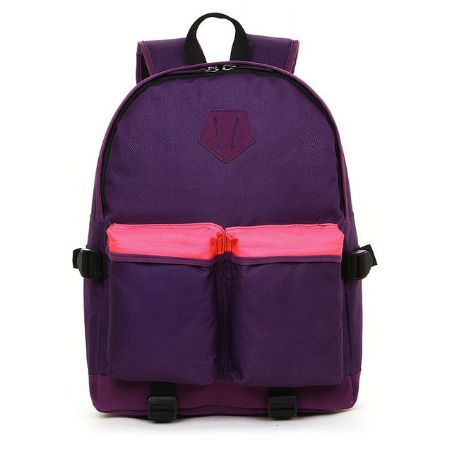 2013 NEW Arrival VANCL Unisex Brindisi Colorful Nylon Backpack Smooth Polyester Lining Black/Purple FREE SHIPPING