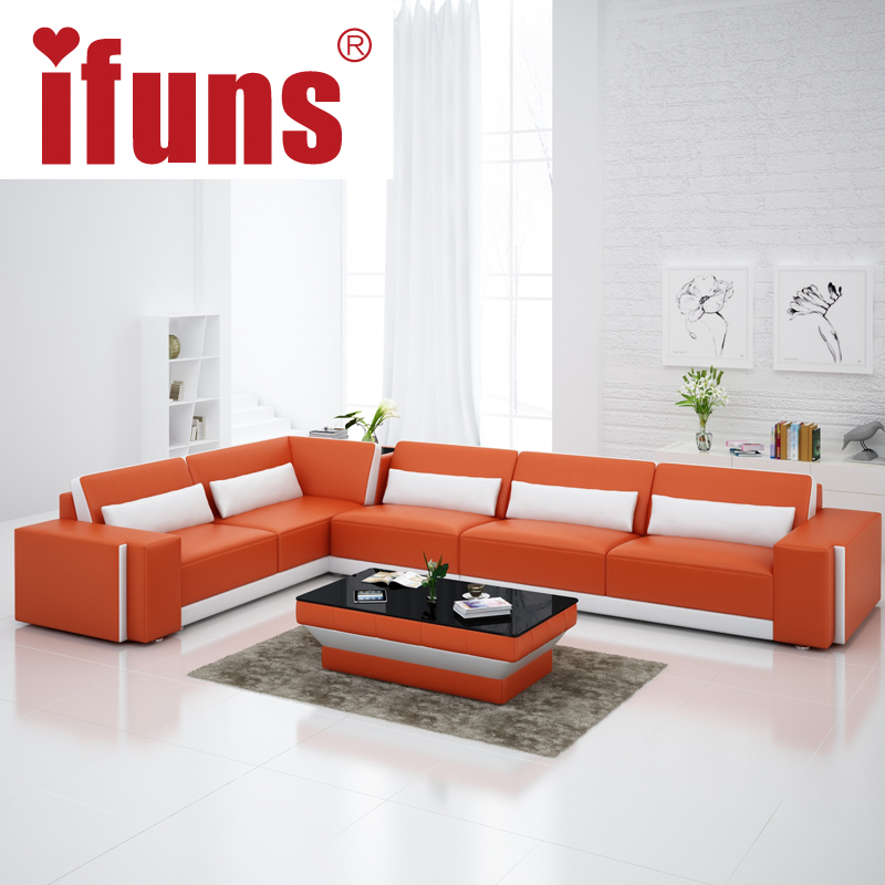 IFUNS Home furniture Sectional sofa in leather full living room sectional couches recliners l shape quality leather (fr)(China (Mainland))