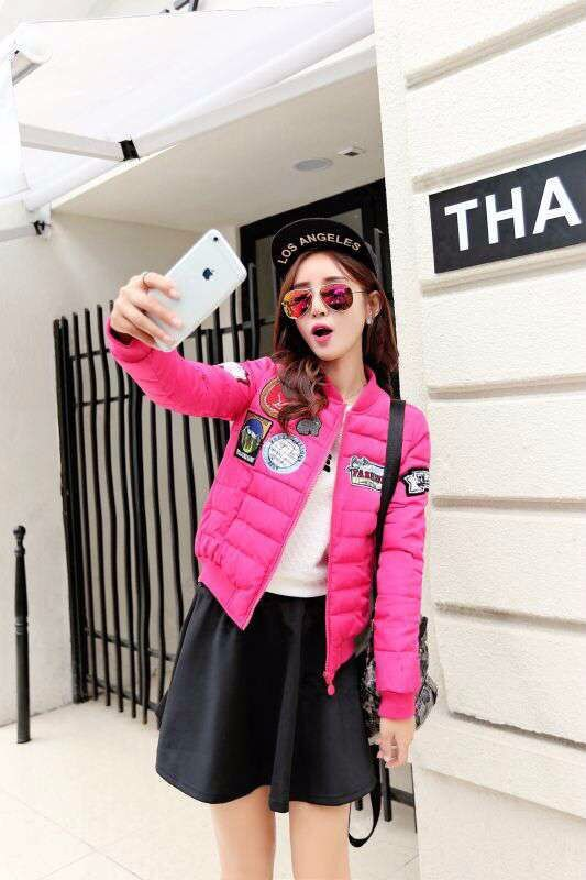 2016 Fashion Women's Stand Collar Quilting Quilted Jacket Short Thin Padded Bomber Jacket Coat Pilots Outerwear Tops 40%off