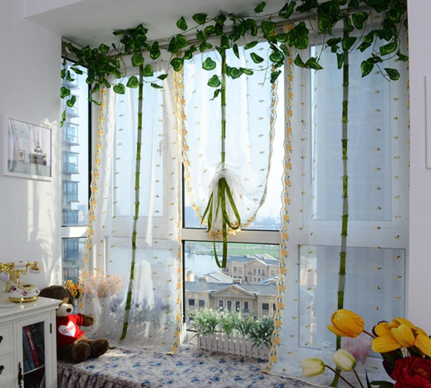 Vintage curtains flowers strawberry embroidered sheer - Cortinas vintage dormitorio ...