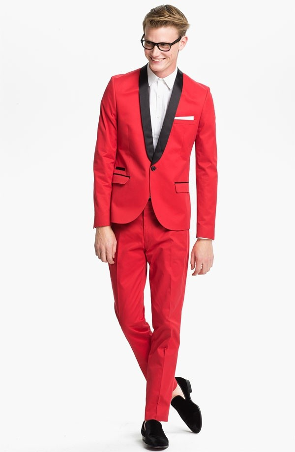 Custom Design Groom Tuxedo Groomsmen Big Red Wedding Dinner Evening Suits Best Man Bridegroom