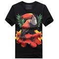 New 2016 Summer Men s Cotton Casual Crew Neck Short Sleeve Diamond And Printed parrot T