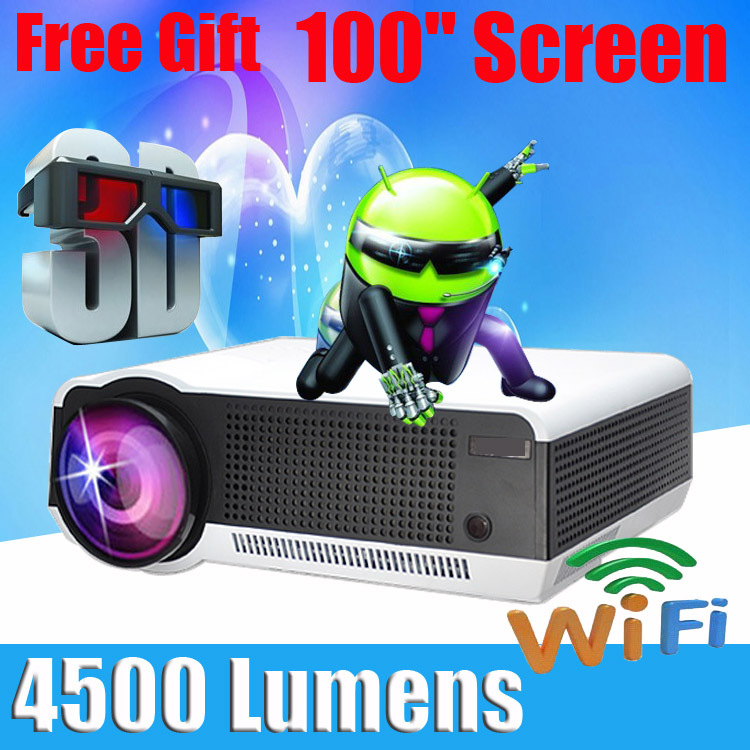 4500 lumens Android 4.2 1080P wifi led projector full hd 3d home theater lcd video proyector projektor tv screen projetor beamer(China (Mainland))