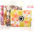 For Ipad 2 3 4 floral case 360 degree rotate pu leather and pc material smart