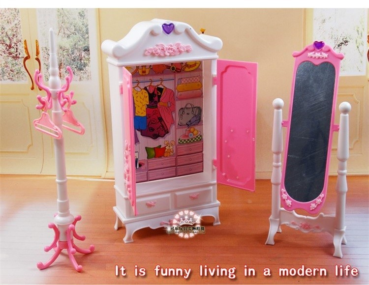 Free Transport Doll wardrobe + dressing mirror DIY toys doll furnishings doll equipment for barbie doll Woman birthday reward