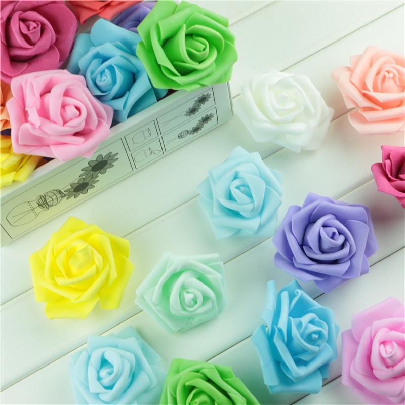 Handmade 100pcs/lot Artificial Foam Roses PE Foam Rose Flower Head DIY For Wedding Home Festival Decor Diameter 6cm(China (Mainland))