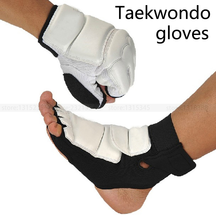 Taekwondo Gloves + foot strap Boxing Gloves Imported Sport leather Kneepad protect ankle karate kneecap Kung fu Boxing equipment(China (Mainland))