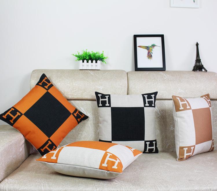 H logo pillow linen cotton cushion cover orange pillow Channl cushion orange Perfume throw pillow case Channel pillow