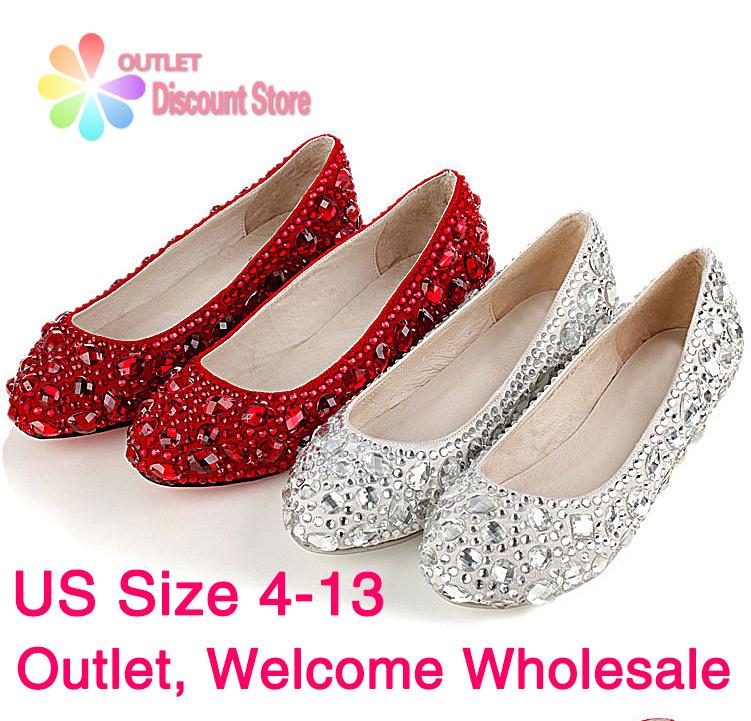 Rhinestone Women Shoes Silver Wedding Shoes Wholesale Bridal Low Heels Bridesmaid Red Crystal