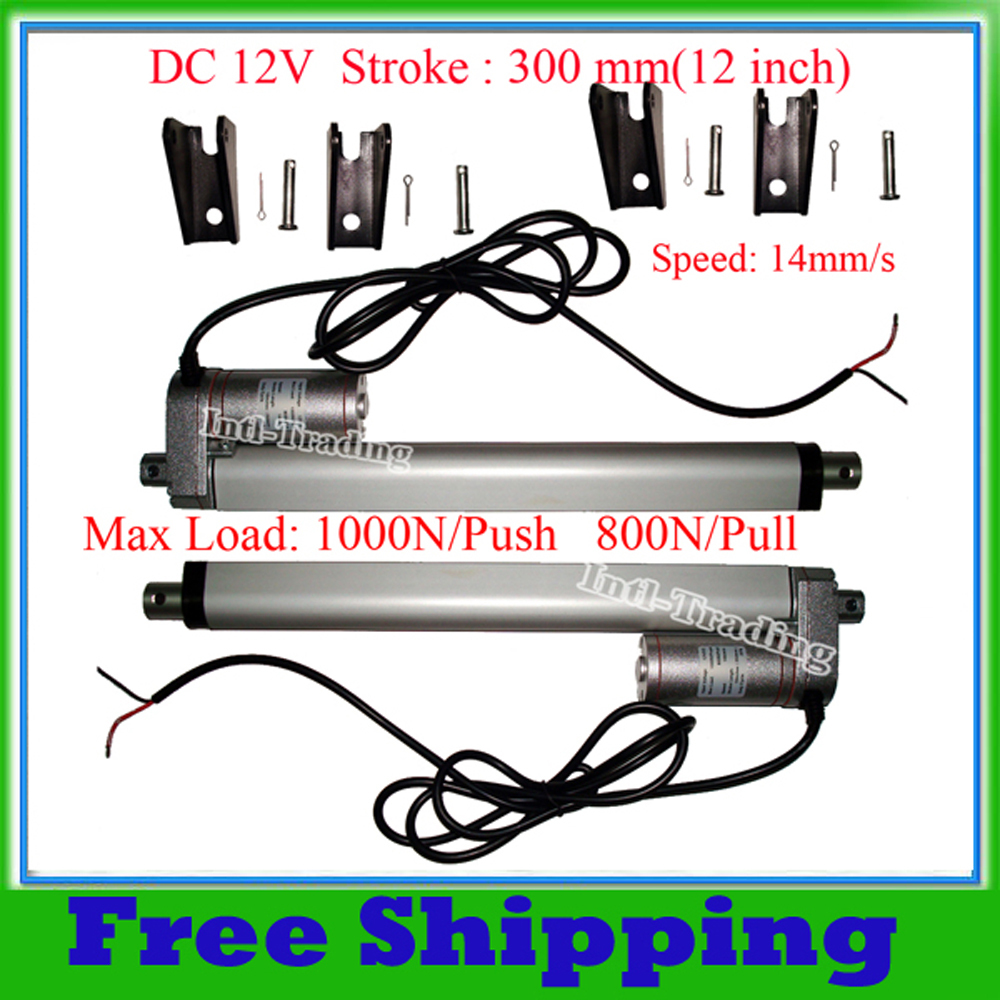 A Pair of DC 12Volt 300mm/12inches stroke mini electric linear actuator tubular motor motion 14mm/s speed 1000N=100KG load IP65(China (Mainland))