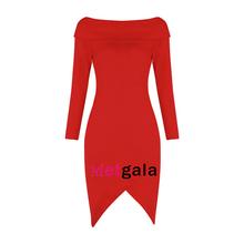 Women winter full sleeve slash neck reverse v split club rayon stretchy elastic celebrity party hl bandage dress drop ship HL741(China)