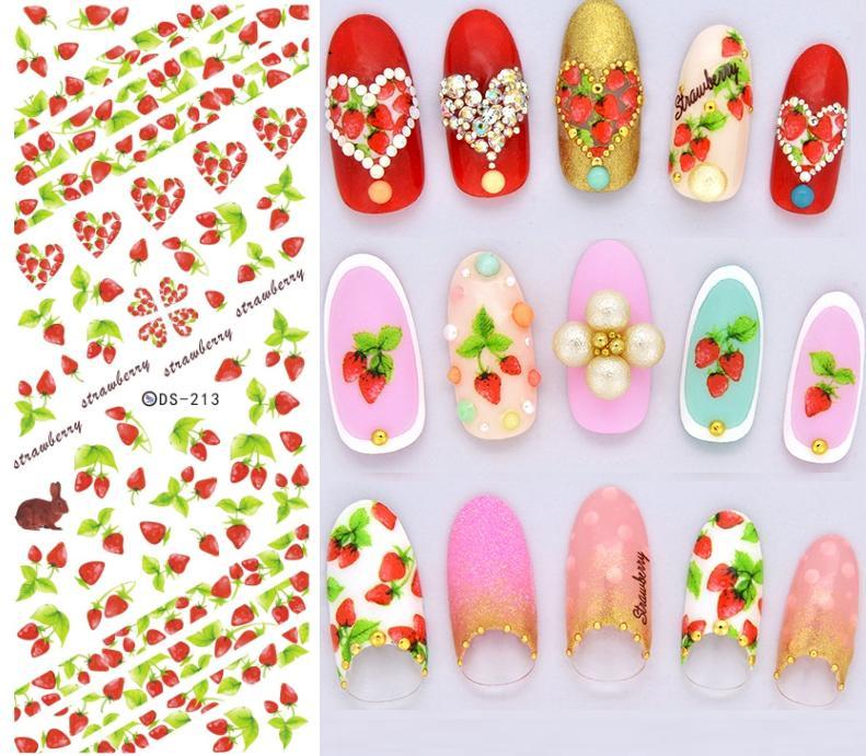 DS213 DIY Nail Design Water Transfer Nails Art Sticker Strawberry Rabbit Anchor Nail Wraps Sticker Watermark Fingernails Decals(China (Mainland))