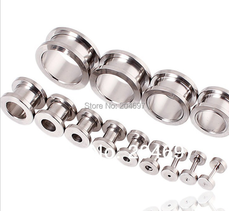 260pcs Mix 13 Gauges 1.2-20mm Stainless Steel Screw On Flesh Tunnel Ear Expander Plug Body Piercing Jewelry Free Shipping