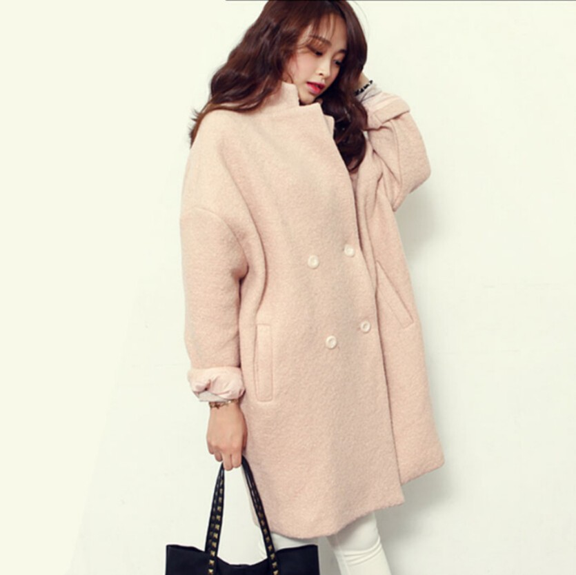 2016 Winter Fashion Women New Coat Long sleeve Medium Long High quality Wool Coat Loose Super Warm Woolen Coat Women G1814