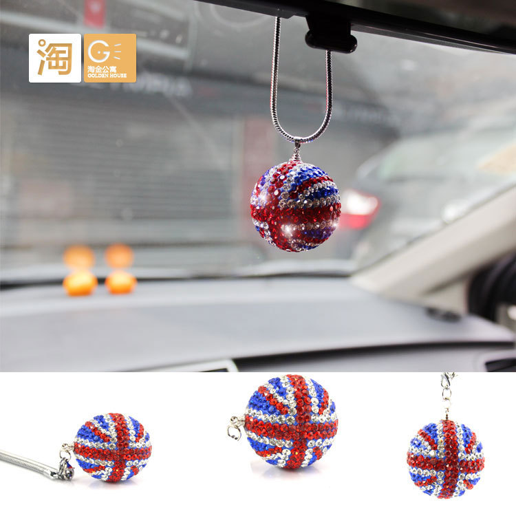 10pcs 36MM MINI Cooper union jack car interior rear view mirror hanging Ornament for countryman paceman clubman