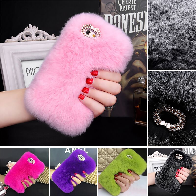 2016 100% Real Rabbit Fur Case For iPhone 5 5S Fashion Luxury Cute Cartoon Hair Bling Diamong Cover For iPhone 5 5s SE(China (Mainland))