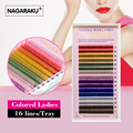 NAGARAKU 16rows tray 8 Colors Rainbow Colored Eyelash Extension Faux Mink color eyelashes colorful cilia eyelash