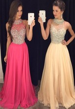 Long Prom Dresses 2017 Halter Sleeveless Backless Sweep Train Chiffon with Crystal Sexy 2016 A-line Party Dresses Evening Gowns(China (Mainland))