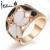 Italina Spring New Arrival Elegant Butterfly Rings For Women Large Size Top Quality 18K Rose Gold Plated #RG95371