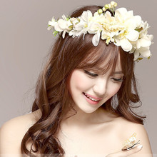 Buy 2017 New Women Rose Flower Headband Wreath Kids Party Floral Garlands Ribbon Adjustable Flower Crown Wedding Hair Accessories for $4.79 in AliExpress store
