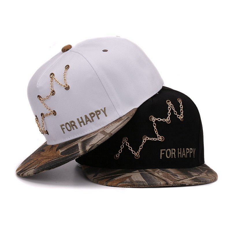 Fancy Snapback cap chain decoration youth dance street sports camo flat brim baseball hip hop cap and hat for men and women(China (Mainland))