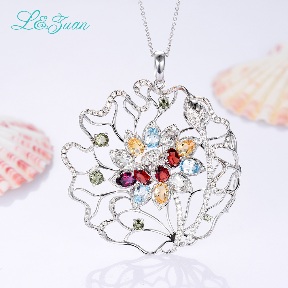 l&zuan 925 sterling silver natural 1.86ct Topaz blue stone Necklace & Pendant for woman gift with silver chain