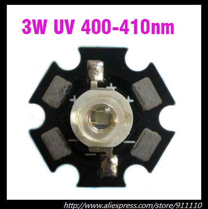 10pcs 3W UV/Ultra Violet High Power LED Bead Emitter 400-410NM with 20mm Star Platine Heatsink
